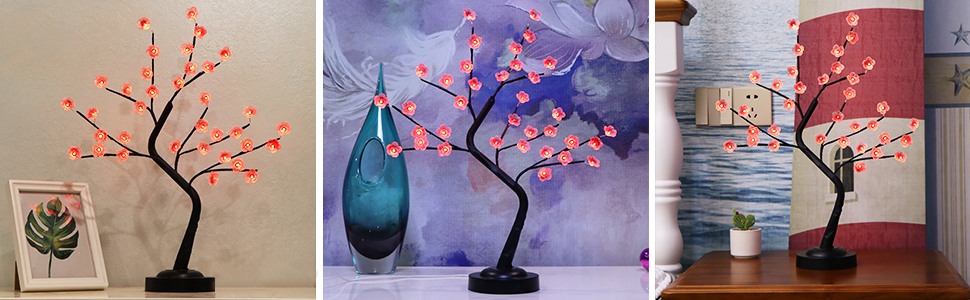 Cherry Blossom Tree Lamp with 16 Colors Changing Desk Tree