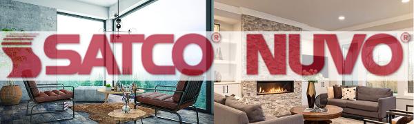 satco brand background of a lightbulb living room black text brand name satco nuvo