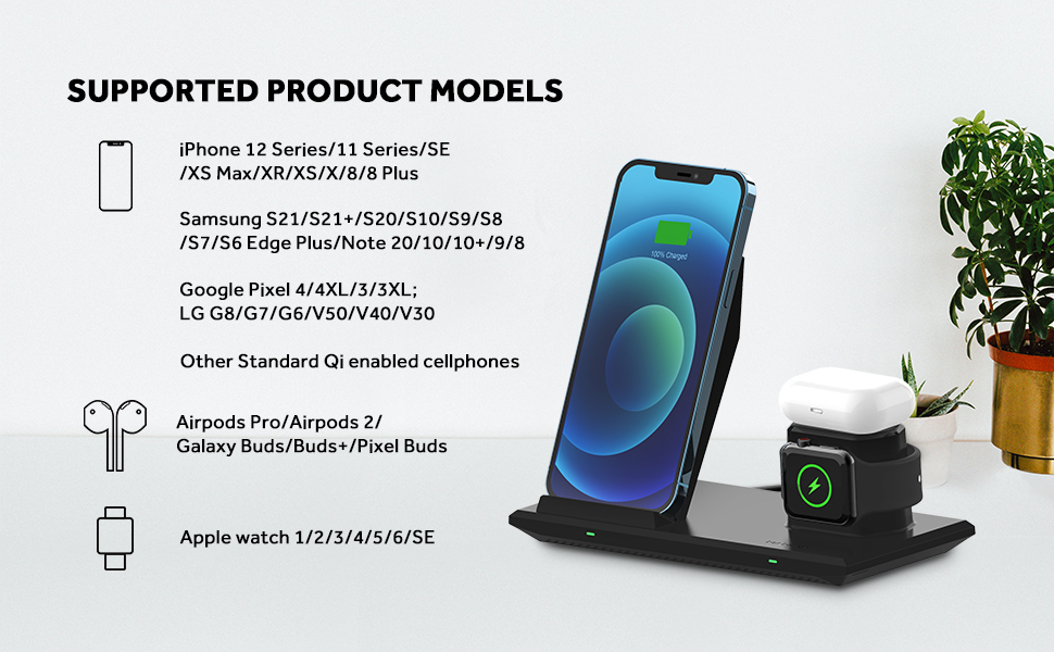 Nanami 3 in 1 wireless charger for iPhone 12, Samsung Galaxy S21 and more