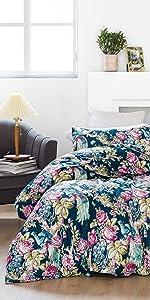 boho flowers print duvet cover set