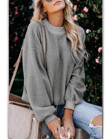 NEYOUQE Womens Chunky Fuzzy Sherpa Pullover Oversized Sweatshirts Loose Warm Top