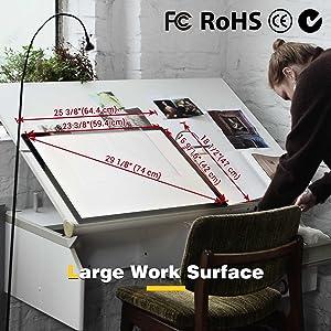 large work surface A2 light box