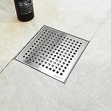 "6"" Square Drain Brushed Grid Grate"