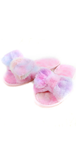 Bow Tie Fuzzy Pom Slippers