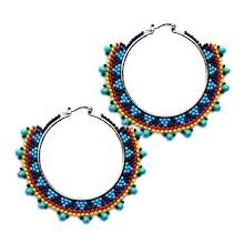 Image Showing Beaded Hoop Earrings By Lavivia