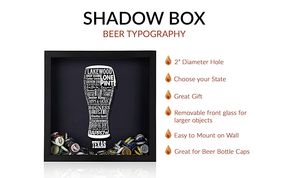 Beer Typography Shadow Box Gray