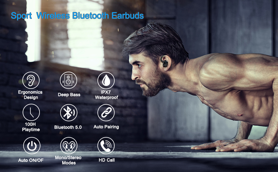 sport wireless Bluetooth earbuds