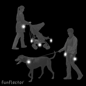 Hang safety reflectors on strollers and dog leashes