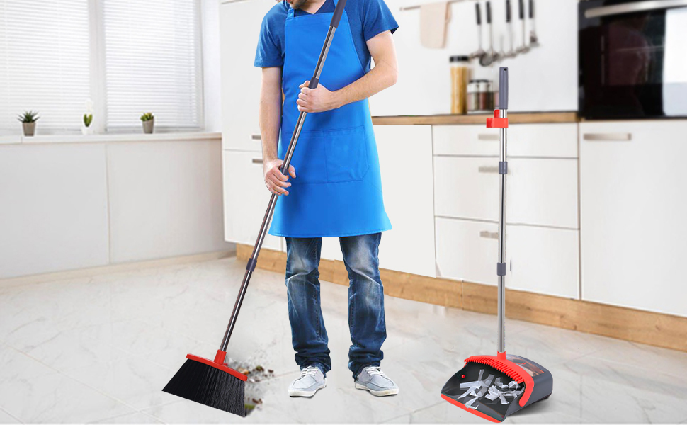 red broom and dustpan set