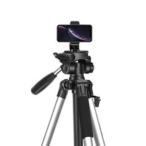 silver camera tripod