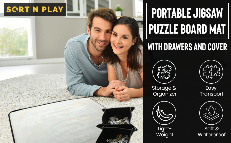 Portable Jigsaw Puzzle Board Mat With Drawers and Cover