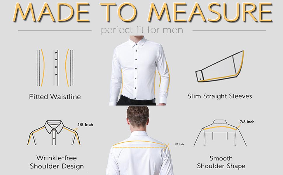 mens slim fit long sleeve dress shirts