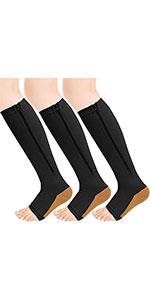 3 Pairs Zipper Compression Socks Women