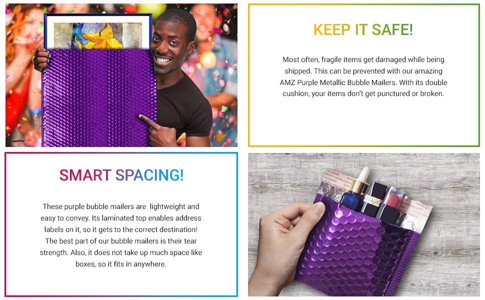 AMZ Purple Metallic Bubble Mailers Bubble Mailer Small Bubble Wrap Envelopes Large Bubble Mailer