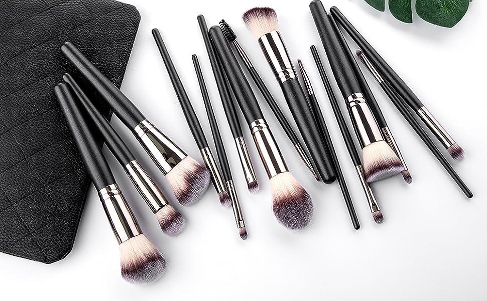 Black make up brushes with bag