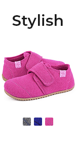 Kids Soft Wool Felt House Shoes with Adjustable Hook and Loop