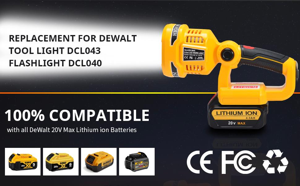 Replacement for DeWalt work light and compatible with DeWalt 20V lithium batteries