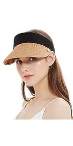 Women Straw Sun Hat Top Open