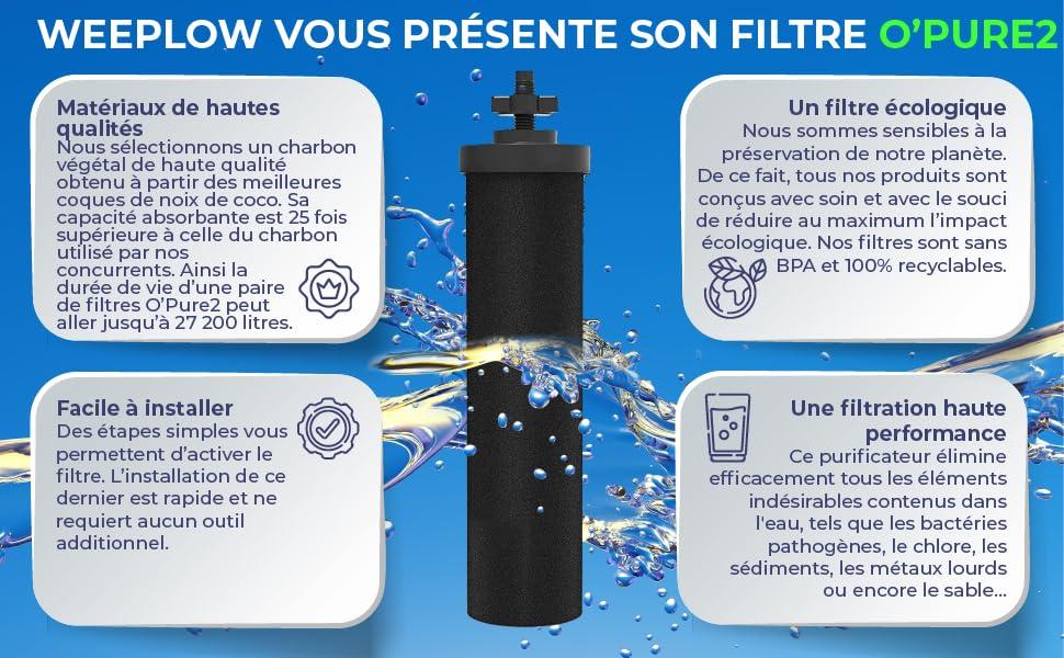 Le filtre O'Pure2 pour système de filtration d'eau par gravité Berkey