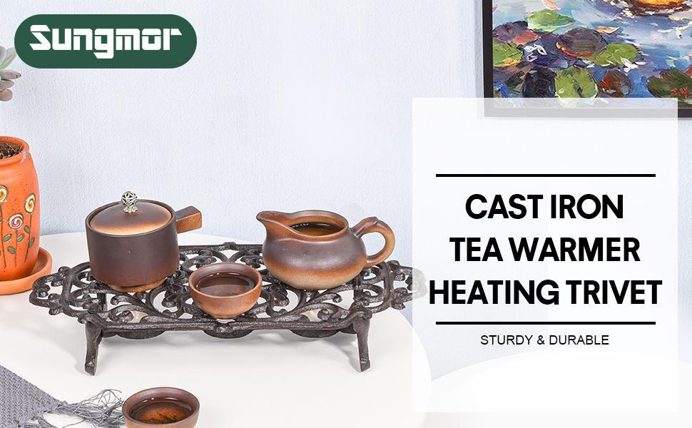 cast iron tea warmer heating trivet