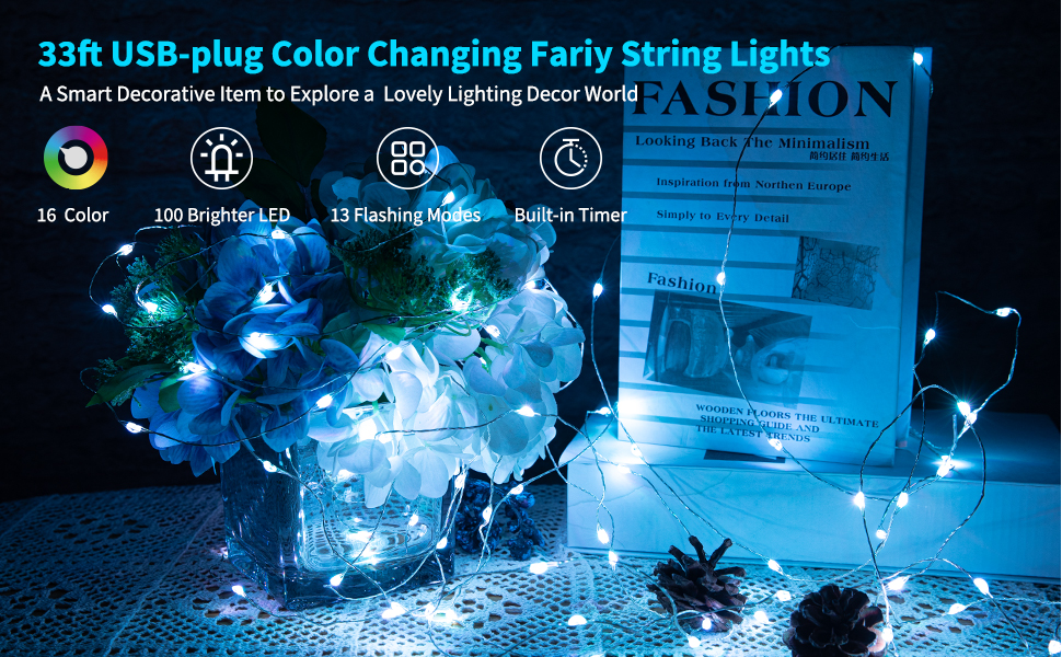 100 LED Color Changing String Lights