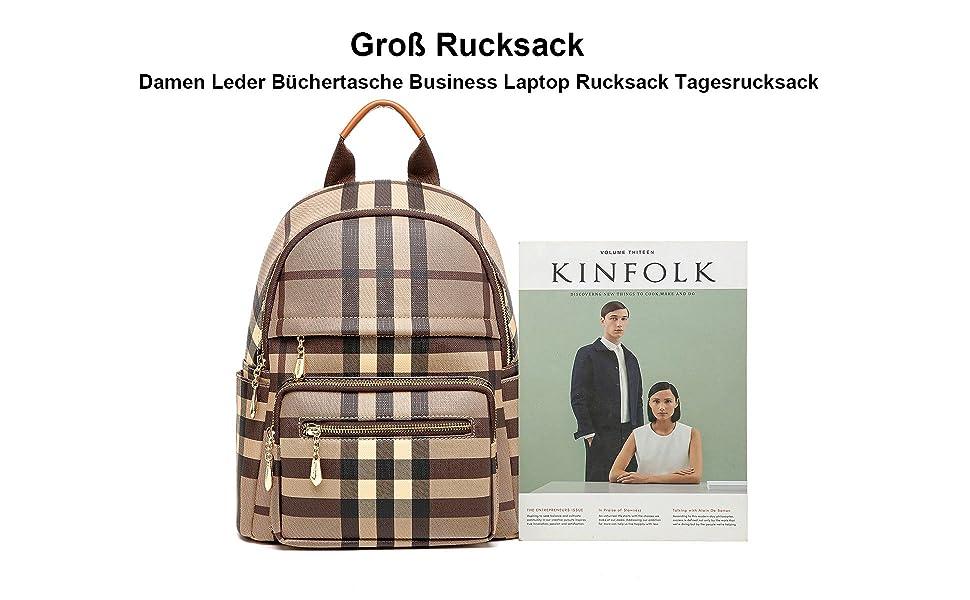 EZOLY Groß Rucksack Damen Leder Büchertasche Business Laptop Rucksack Tagesrucksack Lässige