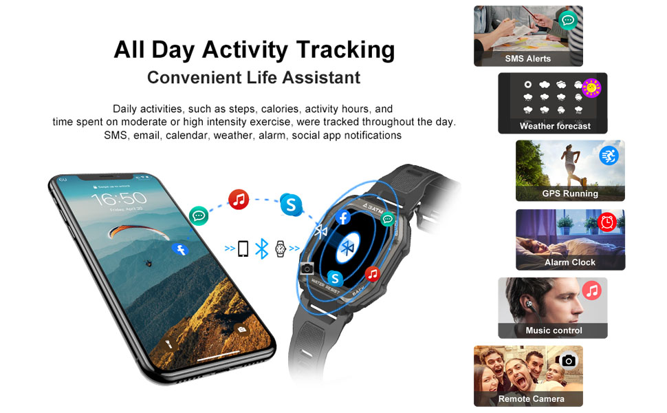 Multifunctional SmartwatchMessage reminder / music control / weather forecast / camera control etc.