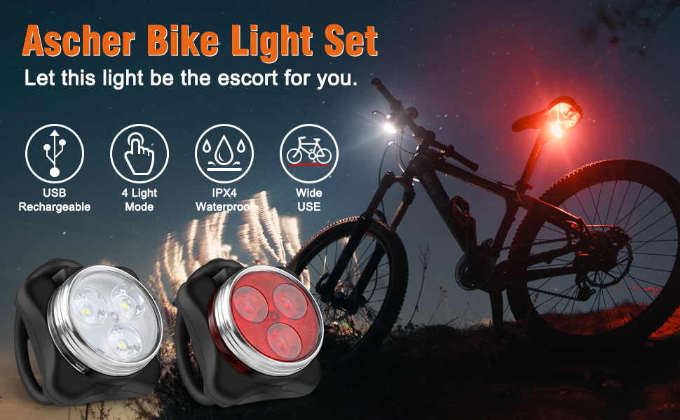Ascher Rechargeable LED Bike Lights Set - Headlight Taillight Combinations LED Bicycle Light Set