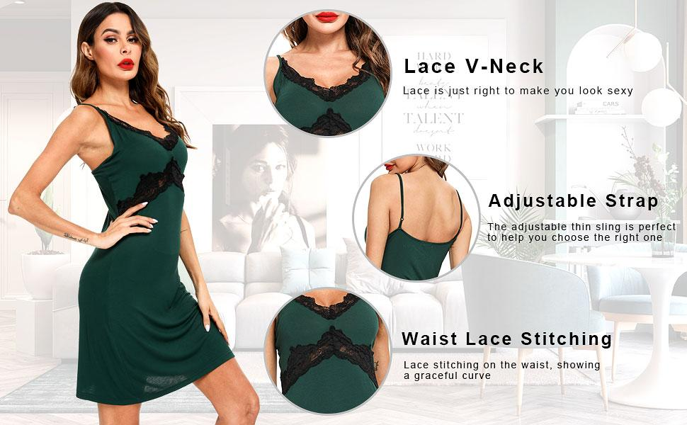 Lace Chemise Nightgown Full Slip Babydoll Sleepwear
