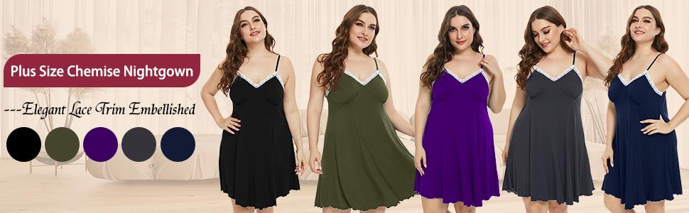 0026 Lace Trim Chemise Nightgowns