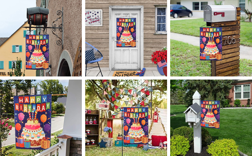 Photos of garden flags hanging under the mailbox, on the door, or placed on the stand, at the party