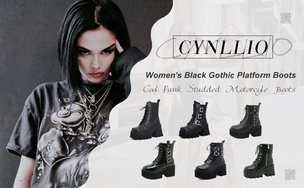 Women's Black Gothic Platform Boots