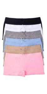 girls pack of six microfiber shorts pastel basic colors basics boyshorts