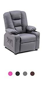 Kids Recliner Chair with Cup Holders  3+ Age Faux Leather