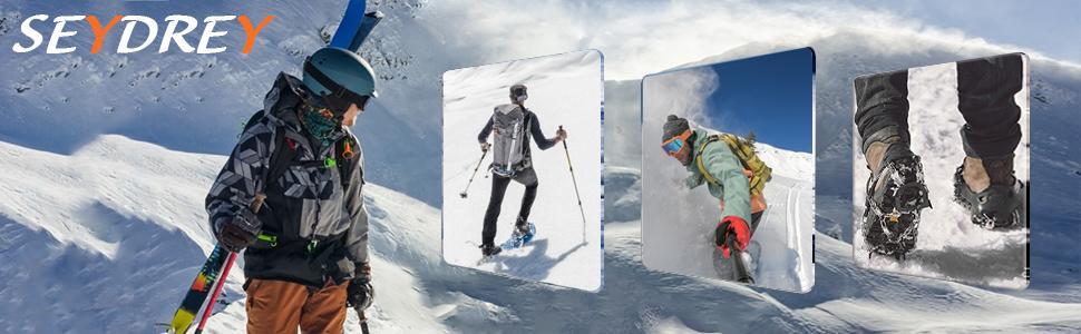 Seydrey Crampones, 19 Dientes Tacos de tracción Nieve y Hielo Tracción para Invierno Deportes Montañismo Escalada Caminar Alpinismo Cámping Acampada ...