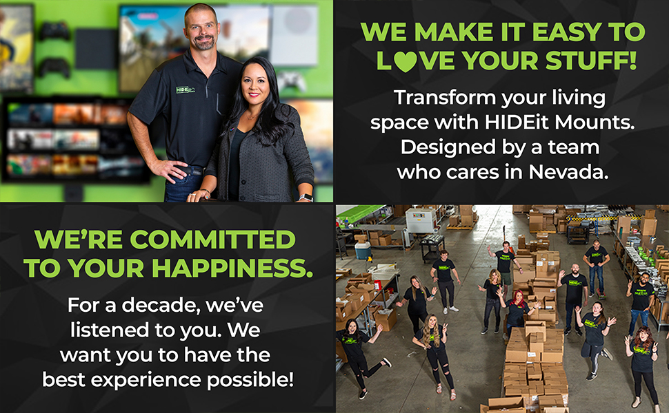 HIDEit Mounts - We're committed to your happiness + we make it easy to love your stuff