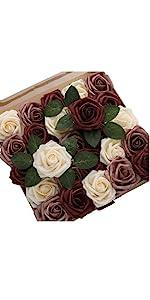 DerBlue 60pcs Artificial Roses Flowers