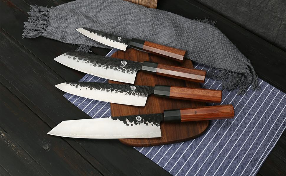 Forge kitchen knife set 9Cr18MoV clad steel