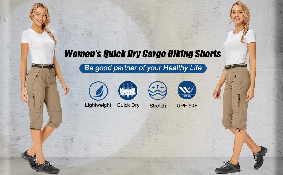 Women's quick dry cargo hiking shorts Stretch UPF 50+ with Zippered Pockets