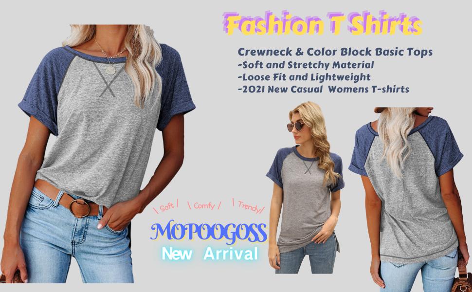 Womens Crewneck Raglan Short Sleeve T Shirts