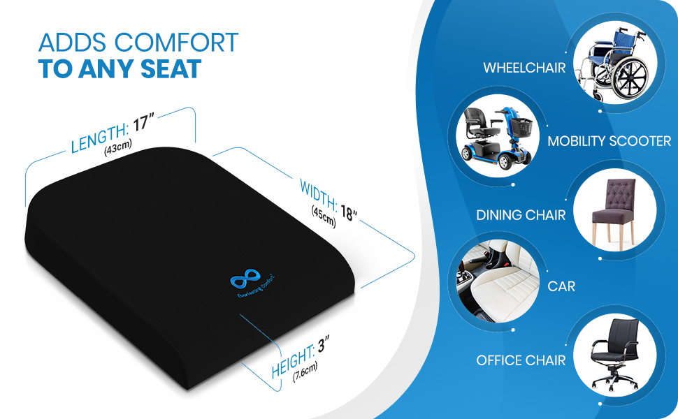 Memory foam seat cushion fits wheelchairs, mobility scooters, office chairs, and more