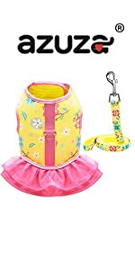 floral small harness dress and leash set