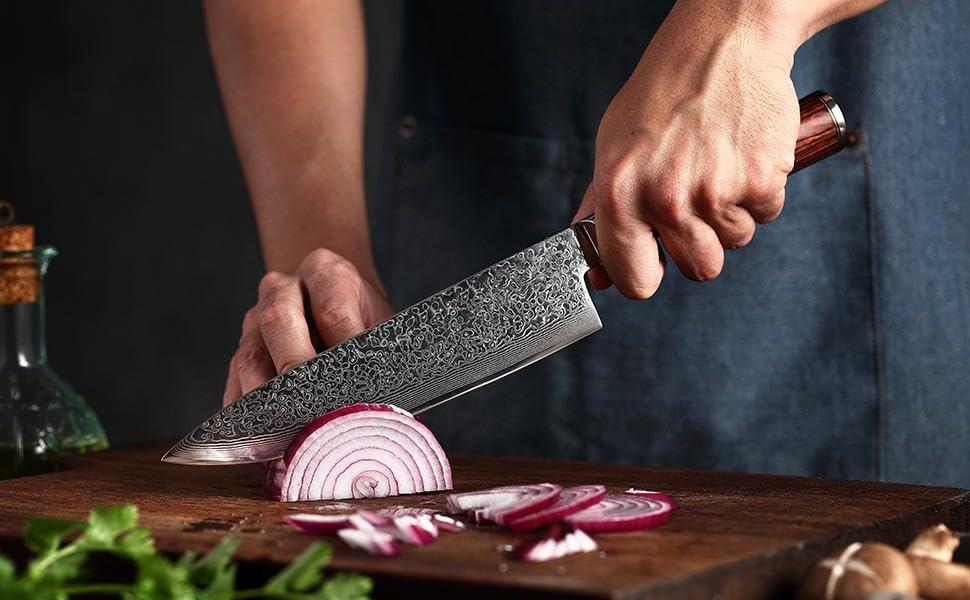 Couteau de Cuisine Damas 20cm, Couteau de Damas de Chef en Acier - Damas Japonais 67 Couche Acier