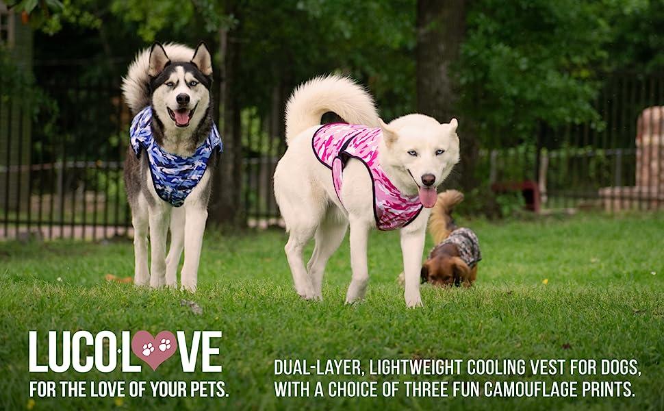LUCOLOVE Dog Cooling Vest, Evaporative Microfiber Camouflage Print Pet Cooler jacket coat