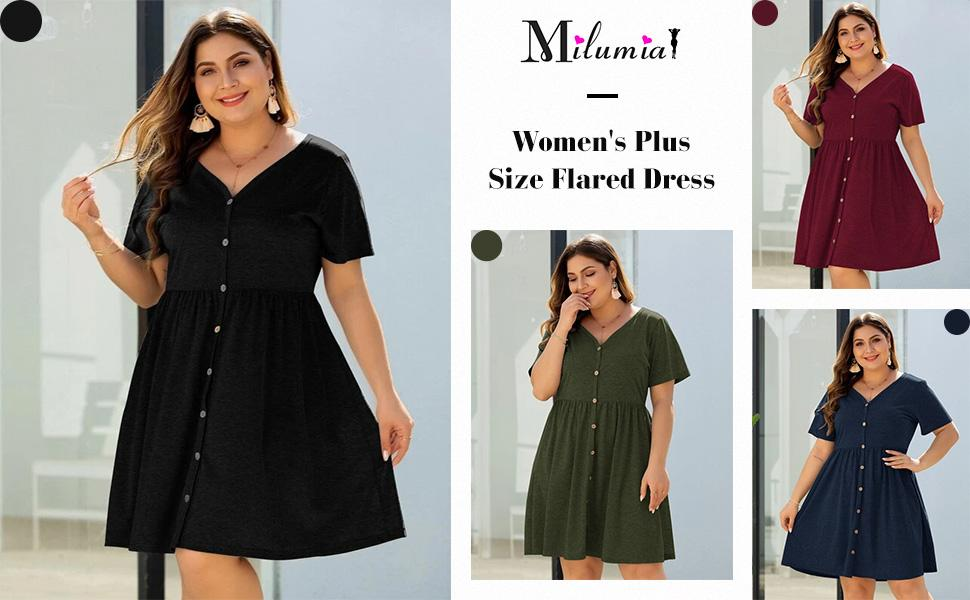 Milumia Women's Plus Size A Line V Neck Button Front Short Sleeve Flared Dress
