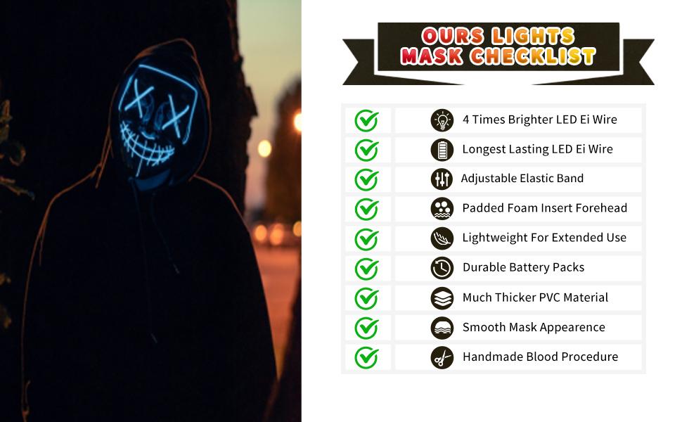 halloween led mask cosplay costume