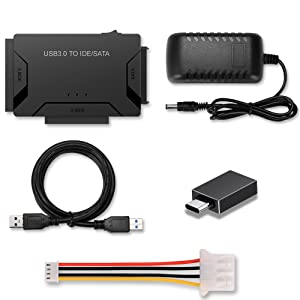 ide to usb adapter, usb cable, usb a to usb c connector, 4pin power cable, 12V 2A power supply