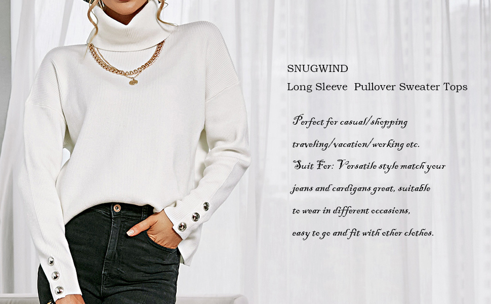 SNUGWIND Women's Turtleneck Sweater Long Sleeves Loose Ribbed Knit Pullover Jumper Tops