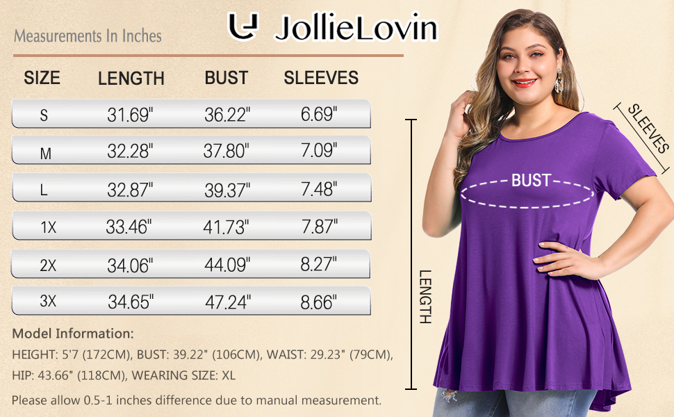 0005 Size chart of solid color shirt