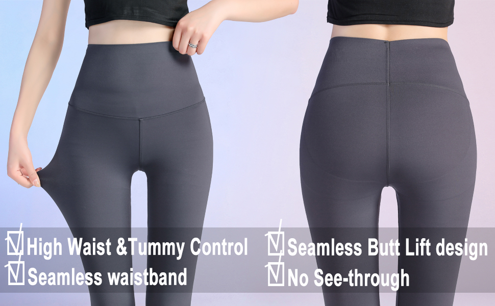 Front and back details of yoga pants